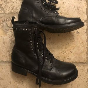 Frye Black Leather Studded Combat Boots